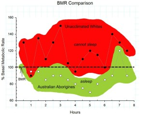 Figure 3:  Metabolism of Australian aborigines and white controls sleeping naked, out of doors in near freezing conditions.