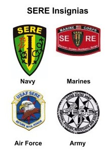 Figure 6:  Insignias for the SERE schools in each branch of the military.  The Navy and Marine insignias incorporate a survival knife cutting through barbed wire.