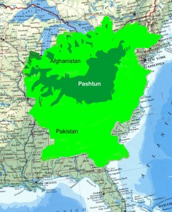 Afghanistan and Pakiston Superimposed on a Map of the Eastern US.  Pashtun Tribal Areas in Dark Green.