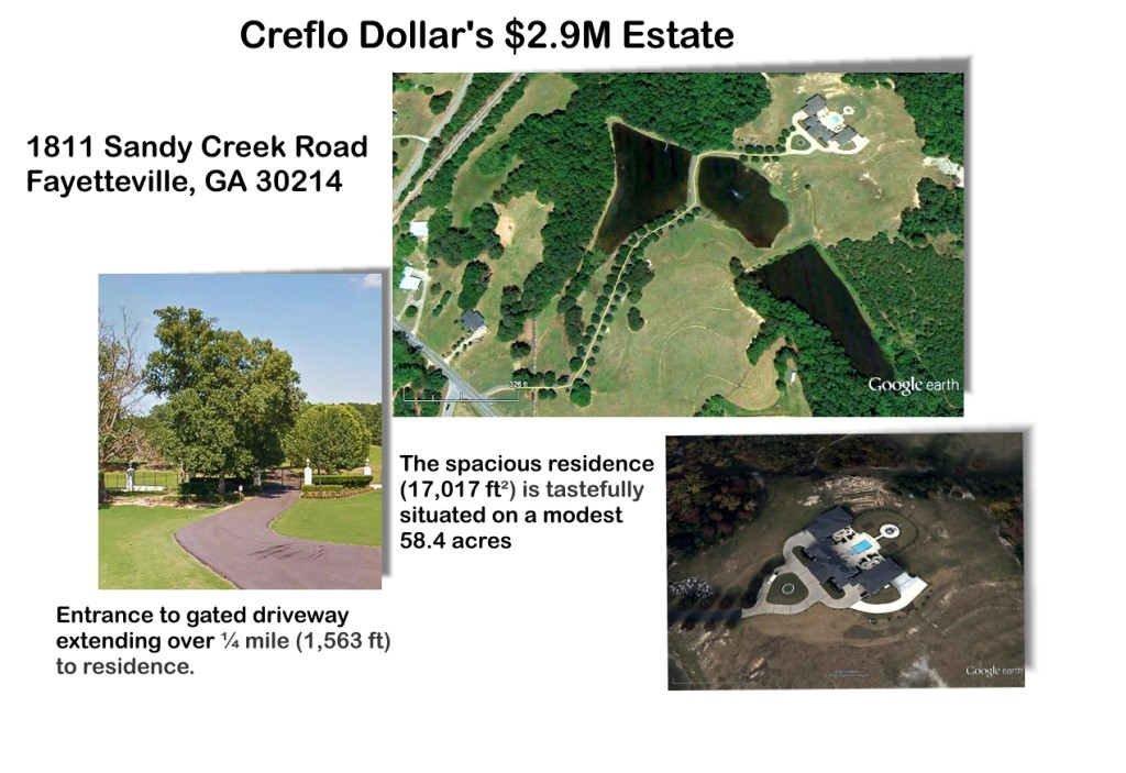 Creflo Dollar's estate in Fayette County.  From the street there is no evidence that over the hill at the end of a driveway over a quarter mile long, sits a 17,017 ft² monstrosity.