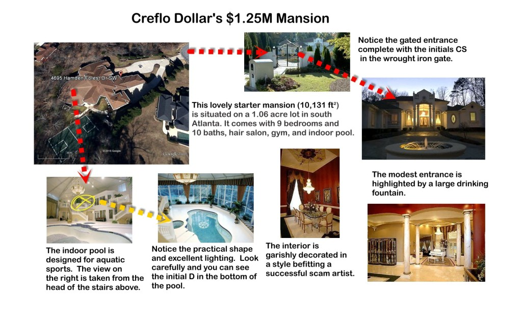 Dollar's starter mansion in Atlanta.  Garish does not do justice to the interior.  Note the indoor pool at the rear of the structure, tastefully decorated with its own chandelier.