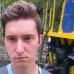 Jared Frank immediately before he was kicked by a passing train engineer while taking a selfie. https://www.youtube.com/watch?v=G4Ck5BnJBeY